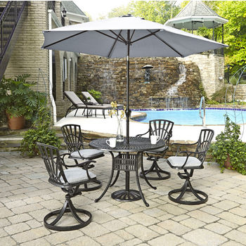 Home Styles Largo Collection 42'' Diameter 5-Piece Outdoor Dining Set w/ Umbrella and Cushions (Includes: (1) Round Table, (4) Swivel Chairs, (4) Seat Cushions, (1) Umbrella and (1) Umbrella Stand), Charcoal Finish