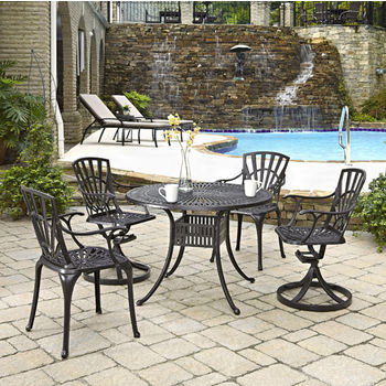 Home Styles Largo Collection 42'' Diameter 5-Piece Outdoor Dining Set (Includes: (1) Round Table, (2) Arm Chairs and (2) Swivel Chairs), Charcoal Finish