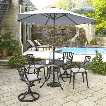 Home Styles Largo Collection 42'' Diameter 5-Piece Outdoor Dining Set w/ Umbrella and Cushions (Includes: (1) Round Table, (2) Arm Chairs, (2) Swivel Chairs, (4) Seat Cushions, (1) Umbrella and (1) Umbrella Stand), Charcoal Finish