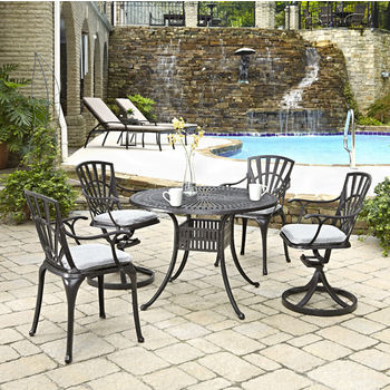 Home Styles Largo Collection 42'' Diameter 5-Piece Outdoor Dining Set w/ Cushions (Includes: (1) Round Table, (2) Arm Chairs, (2) Swivel Chairs and (4) Seat Cushions), Charcoal Finish
