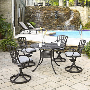 Home Styles Largo Collection 42'' Diameter 5-Piece Outdoor Dining Set w/ Cushions (Includes: (1) Round Table, (4) Swivel Chairs and (4) Seat Cushions), Charcoal Finish