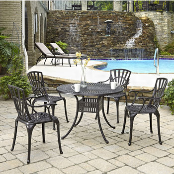 Home Styles Largo Collection 42'' Diameter 5-Piece Outdoor Dining Set (Includes: (1) Round Table and (4) Arm Chairs), Charcoal Finish
