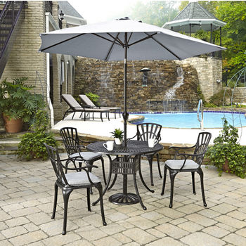 Home Styles Largo Collection 42'' Diameter 5-Piece Outdoor Dining Set w/ Umbrella and Cushions (Includes: (1) Round Table, (4) Arm Chairs, (4) Seat Cushions, (1) Umbrella and (1) Umbrella Stand), Charcoal Finish