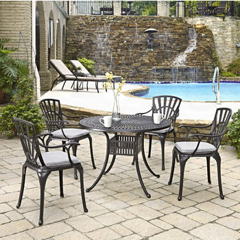 Home Styles Largo Collection 42'' Diameter 5-Piece Outdoor Dining Set w/ Cushions (Includes: (1) Round Table, (4) Arm Chairs and (4) Seat Cushions), Charcoal Finish