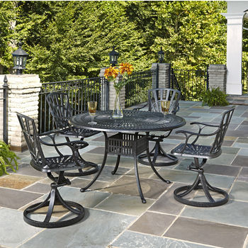 Home Styles Largo Collection 48'' Diameter 5-Piece Outdoor Dining Set (Includes: (1) Round Table and (4) Swivel Chairs), Charcoal Finish