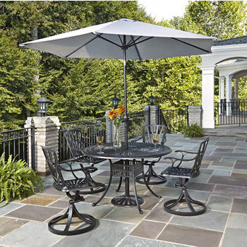 Home Styles Largo Collection 48'' Diameter 5-Piece Outdoor Dining Set w/ Umbrella (Includes: (1) Round Table, (4) Swivel Chairs, (1) Umbrella and (1) Umbrella Stand), Charcoal Finish