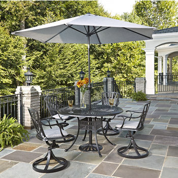 Home Styles Largo Collection 48'' Diameter 5-Piece Outdoor Dining Set w/ Umbrella and Cushions (Includes: (1) Round Table, (4) Swivel Chairs, (4) Seat Cushions, (1) Umbrella and (1) Umbrella Stand), Charcoal Finish
