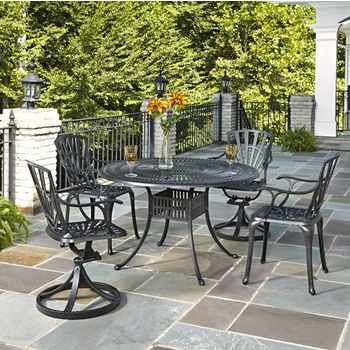 Home Styles Largo Collection 48'' Diameter 5-Piece Outdoor Dining Set (Includes: (1) Round Table, (2) Arm Chairs and (2) Swivel Chairs), Charcoal Finish