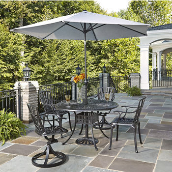 Home Styles Largo Collection 48'' Diameter 5-Piece Outdoor Dining Set w/ Umbrella (Includes: (1) Round Table, (2) Arm Chairs, (2) Swivel Chairs, (1) Umbrella and (1) Umbrella Stand), Charcoal Finish