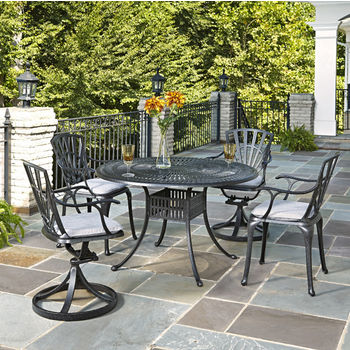 Home Styles Largo Collection 48'' Diameter 5-Piece Outdoor Dining Set w/ Cushions (Includes: (1) Round Table, (2) Arm Chairs, (2) Swivel Chairs and (4) Seat Cushions), Charcoal Finish