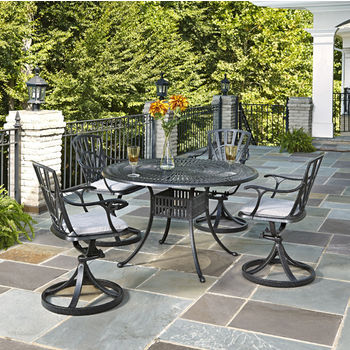 Home Styles Largo Collection 48'' Diameter 5-Piece Outdoor Dining Set w/ Cushions (Includes: (1) Round Table, (4) Swivel Chairs and (4) Seat Cushions), Charcoal Finish