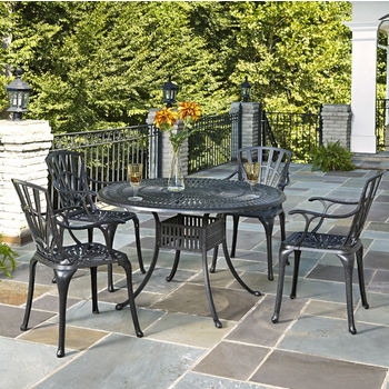 Home Styles Largo Collection 48'' Diameter 5-Piece Outdoor Dining Set (Includes: (1) Round Table and (4) Arm Chairs), Charcoal Finish