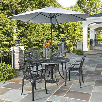 Home Styles Largo Collection 48'' Diameter 5-Piece Outdoor Dining Set w/ Umbrella (Includes: (1) Round Table, (4) Arm Chairs, (1) Umbrella and (1) Umbrella Stand), Charcoal Finish