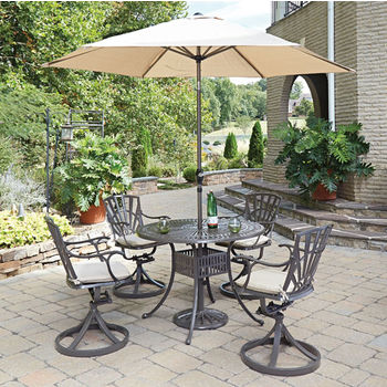 Set w/ 4 Swivel Chairsw/ Umbrella & Cushions