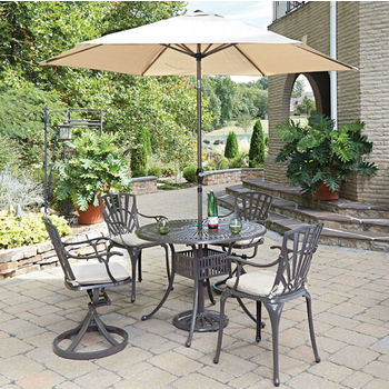 Set w/ 2 Swivel/2 Arm Chairs w/ Umbrella & Cushions