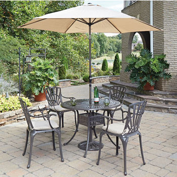 Set w/ 4 Arm Chairs w/ Umbrella & Cushions