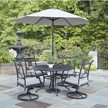 Table and 4 Swivel Chairs w/ Cushions & Umbrella
