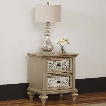 "Home Styles Visions Night Stand in Silver/Gold Champagne, 23-1/2"" W x 19"" D x 27-1/4"" H"