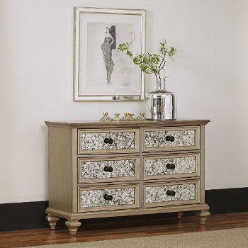 """Home Styles Visions Dresser in Silver/Gold Champagne, 54"""" W x 19"""" D x 36-1/2"""" H"""