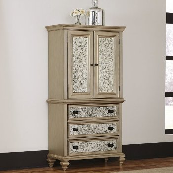 "Home Styles Visions Door Chest in Silver/Gold Champagne, 40"" W x 19"" D x 76"" H"