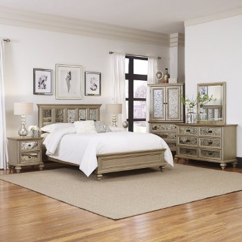 Home Styles Visions 5-Piece Queen or King Bedroom Set in Silver/Gold Champagne