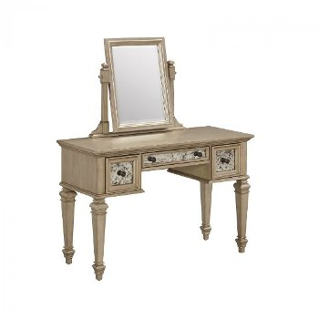 "Home Styles Visions Vanity and Mirror in Silver/Gold Champagne, 46-1/4"" W x 19"" D x 54-3/4"" H"