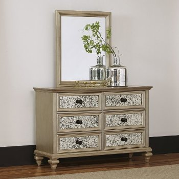 """Home Styles Visions Dresser and Mirror in Silver/Gold Champagne, 54"""" W x 19"""" D x 36-1/2"""" H"""