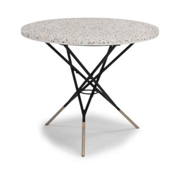Tile Top Table White Concrete, Black Frame Side View