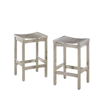 "Home Styles Pair of Stainless Steel Stools in Brushed Satin, 15-3/4"" W x 13-3/4"" D x 24"" H"