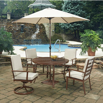 "48"" Diameter, 2 Swivel Chairs, 2 Arm Chairs, With Umbrella"
