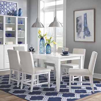 """Home Styles Linear Rectangular 7 Piece Dining Set, Dining Table & 6 Chairs, White, Table: 48""""W x 36""""D x 30""""H, Chair: 18""""W x 23-3/4""""D x 35""""H"""