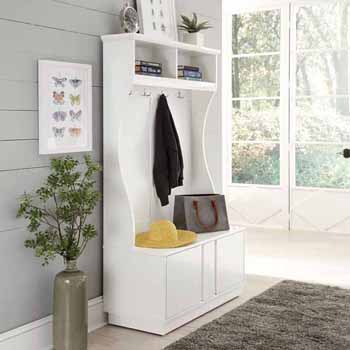 "Home Styles Linear Storage Hall Tree, White, 43""W x 18""D x 69-1/2""H"