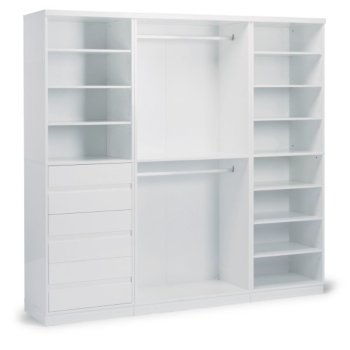 "Home Styles Linear Collection Storage 3-Piece Wall Unit in White, 86"" W x 20"" D x 82-1/2"" H"