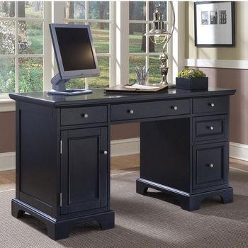 Home Styles Bedford Pedestal Desk Black Finish