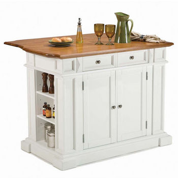home styles kitchen island with oak top white finish