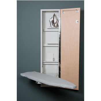 Iron-A-Way ANE-46 Premium Swivel Non-Electric Ironing Center with Raised White Door, Cool Grey Interior, Unfinished Exterior, 15'' W x 7-3/4'' D x 60-5/8'' H