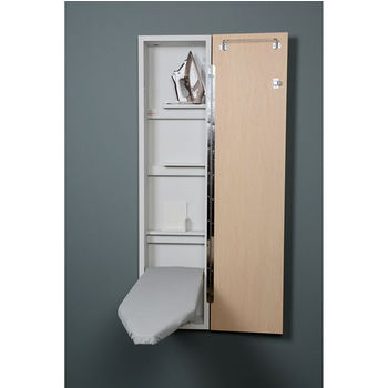 Iron A Way Ne 46 Premium Non Electric Ironing Center With Wood Door Options Cool Grey Interior Unfinished Exterior