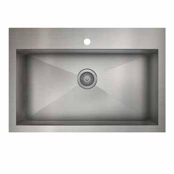 33'' kitchen single sink dualmount