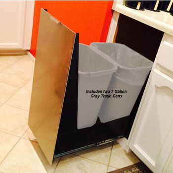 Imperial 15 Trash Or Recycling Cabinet With Double 30 Qt 7 5 Gal Cans Stainless Steel Panel Black