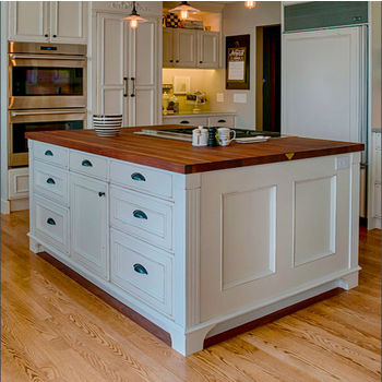 Kitchen Countertops in Stainless Steel and Butcher Block by John