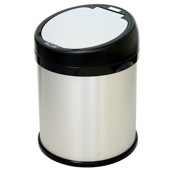 """iTouchless 8 Gallon Sensor Touchless Trash Can, Stainless Steel with Round Extra-Wide Opening, 14.13""""W x 14.75""""D x 18.5""""H"""