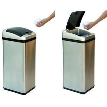 "iTouchless 13 Gallon Rectangular Extra-Wide Stainless Steel Automatic Sensor Touchless Trash Can, 10.75""W x 12.88""D x 28.25""H"