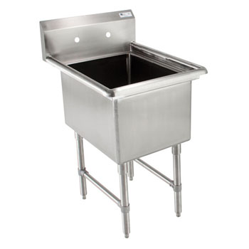 John Boos B-Series Compartment Single Bowl Sink in Multiple Sizes with No Drainboard, 16-Gauge