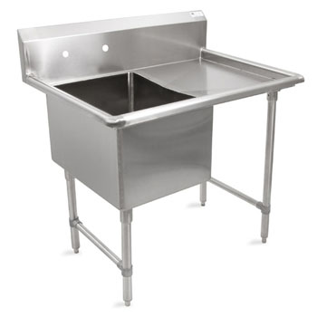 John Boos B-Series Compartment Single Bowl Sink in Multiple Sizes with Right Drainboard, 16-Gauge