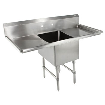 John Boos B-Series Compartment Single Bowl Sink in Multiple Sizes with Left and Right Drainboards, 16-Gauge