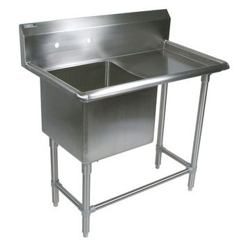 John Boos Pro Bowl NSF Sink, with Right Drainboard, 14 or 16 Gauge, One Bowl