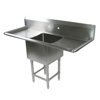 John Boos Pro Bowl NSF Sink, with Left & Right Drainboard, 14 or 16 Gauge, One Bowl