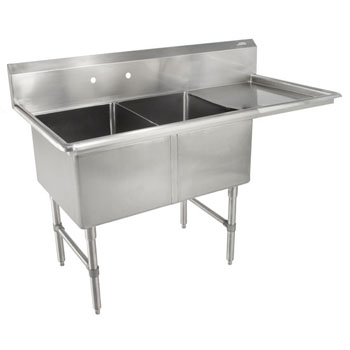 John Boos B-Series Compartment Double Bowl Sink in Multiple Sizes with Right Drainboard, 16-Gauge