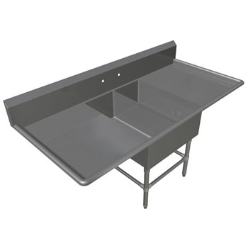 John Boos Pro Bowl NSF Platter Double Bowl Sink in Multiple Sizes with Left and Right Drainboards, 16-Gauge Stainless Steel
