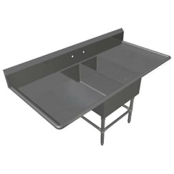 John Boos Pro Bowl Platter Sink, with Left & Right Drainboard, 14 or 16 Gauge, Two Bowls